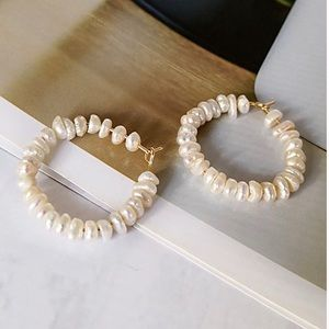 Stunning real natural pearl hoop earrings 18k gold